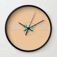 treat yo self Wall Clocks featuring treat yo self by studiomarshallarts