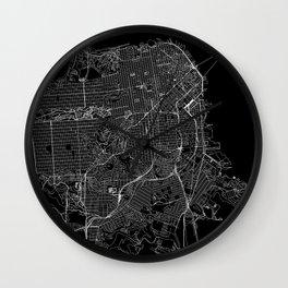 San Francisco Black Map Wall Clock