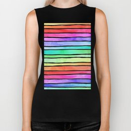 Bright Rainbow Colored Watercolor Paint Stripes Biker Tank