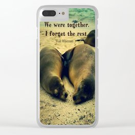Love couple quote sea lions on the beach Clear iPhone Case