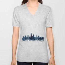 Cleveland Skyline Navy Blue Watercolor by ZouzounioArt Unisex V-Neck