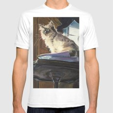 The Magnificent Ascent of the Mighty Bear (the Ragdoll Cat) White Mens Fitted Tee MEDIUM