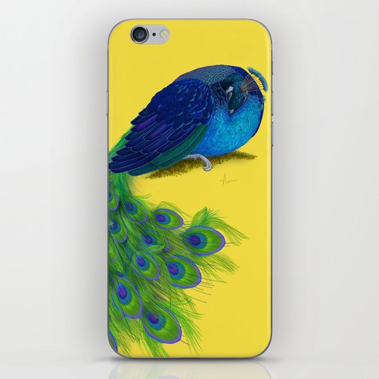 The Beauty That Sleeps - Vertical Peacock Painting iPhone & iPod Skin
