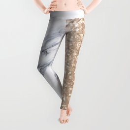 Bronze Copper Gold Glitter White Gray Marble Luxury III Leggings