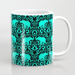 Elephant Damask Mint and Black Coffee Mug