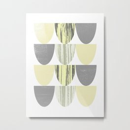 Yellow and Grey Geometric Abstract Scallop Pattern Metal Print