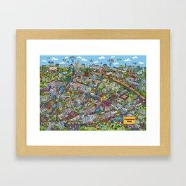 Illustrated map of Berlin-Prenzlauer Berg Framed Art Print
