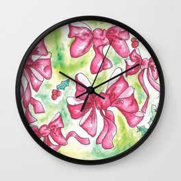 Red Bows and Holly in Watercolor Wall Clock