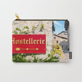 Hostellerie french sign direction close-up in medieval village Carry-All Pouch