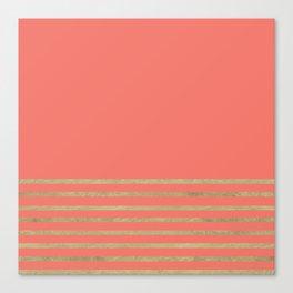 Peach and Gold Stripes Canvas Print