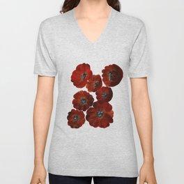 Poppies in Red Unisex V-Neck