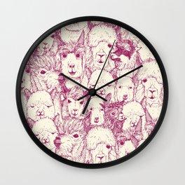just alpacas cherry pearl Wall Clock