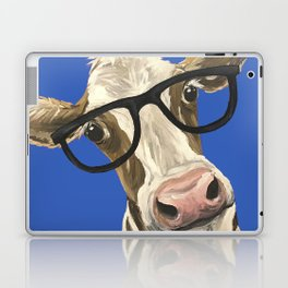 Cute Cow With Glasses, Blue Glasses Cow Laptop & iPad Skin