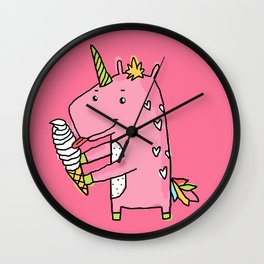 Unicorns and ice cream Wall Clock