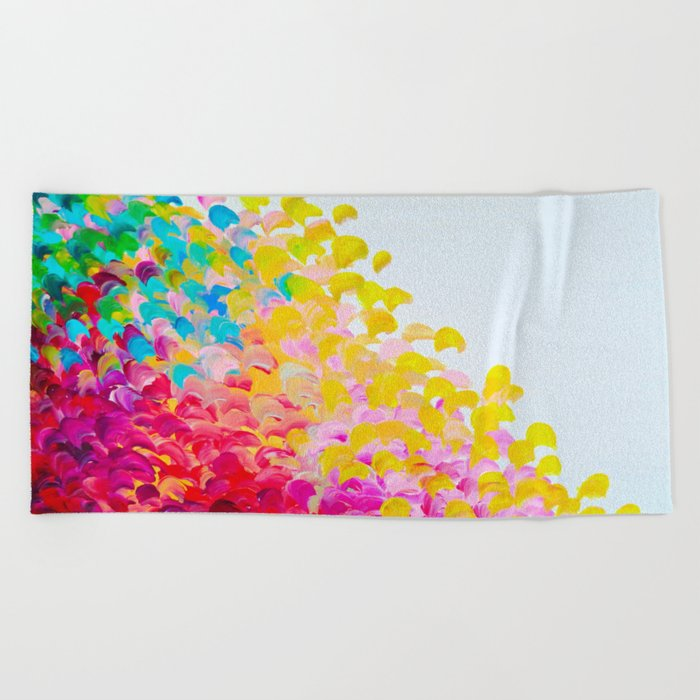 CREATION IN COLOR - Vibrant Bright Bold Colorful Abstract Painting Cheerful Fun Ocean Autumn Waves Beach Towel