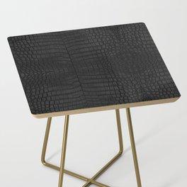 Black Crocodile Leather Print Side Table