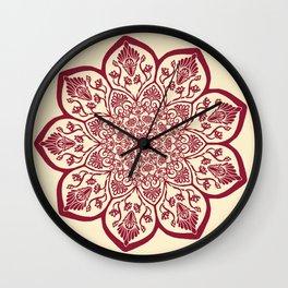 Burgundy & Cream Mandala Wall Clock