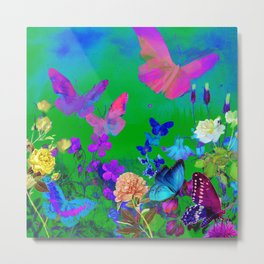 Green Butterflies & Flowers Metal Print