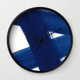 Indigo Abstract Brush Strokes | No. 4 Wall Clock