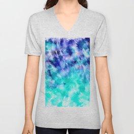 modern boho blue turquoise watercolor mermaid tie dye pattern Unisex V-Neck