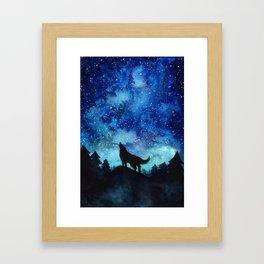 Wolf Galaxy Framed Art Print