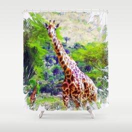African Giraffe - Wondering Through Africa Shower Curtain