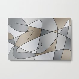ABSTRACT CURVES #2 (Grays & Beiges) Metal Print