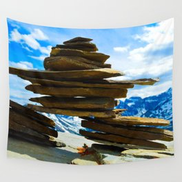 Inukshuk on Whistlers Mt in Jasper National Park, Canada Wall Tapestry