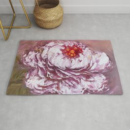 Marshmallow peony, Oil painting on canvas. Rug