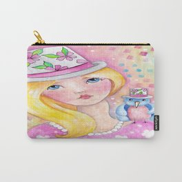 Whimiscal Girl with Bird Carry-All Pouch