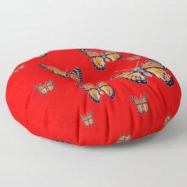 RED ART MONARCH BUTTERFLIES Floor Pillow