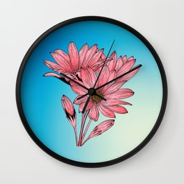Pink Daisy Wall Clock