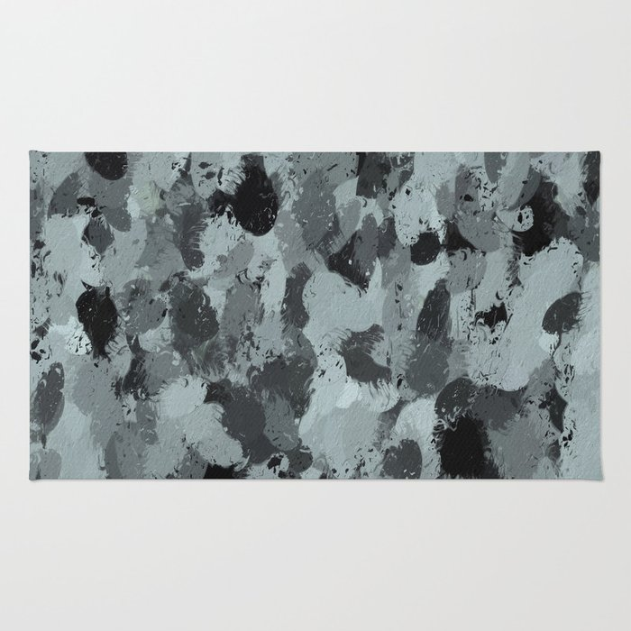 Black and Smokey Blue Pastels 3216 Rug