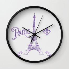 Paris Purple Wall Clock