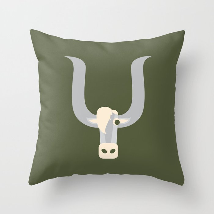 Letter Y // Animal Alphabet // Yak Monogram Throw Pillow