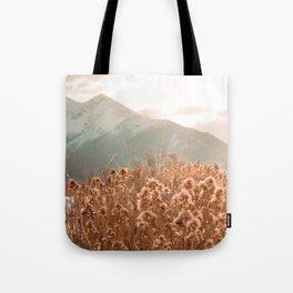 Golden Wheat Mountain // Yellow Heads of Grain Blurry Scenic Peak Tote Bag