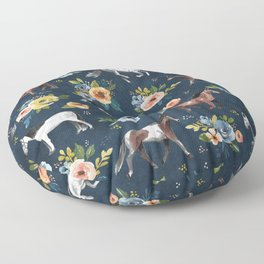 Wild Horses, Horse and Floral Print, Navy Blue, Watercolor Painting, Illustrated Horses, Flowers,  Floor Pillow