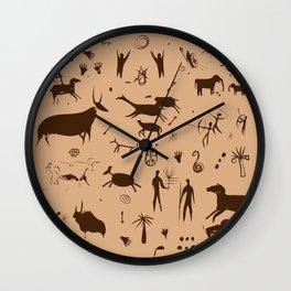 Cave Art Pattern Illustration Wall Clock