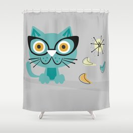 1950s Atomic Age Mid Century Modern Kitty Cat Shower Curtain