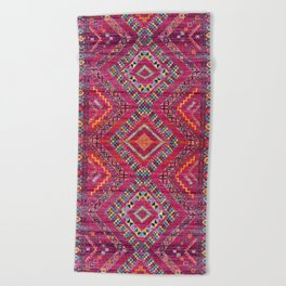 N118 - Pink Colored Oriental Traditional Bohemian Moroccan Artwork. Beach Towel