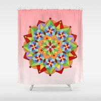 manchester Shower Curtains featuring Manchester Mandala  by Patricia Shea Designs