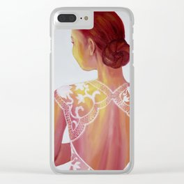 Golden Anticipation Clear iPhone Case