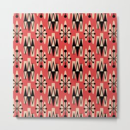 Retro Mid Century Modern Atomic Triangles 730 Red and Black Metal Print