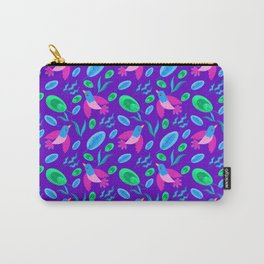 Pretty cute little pink birds, green blue delicate leaves, plants purple seamless p Carry-All Pouch