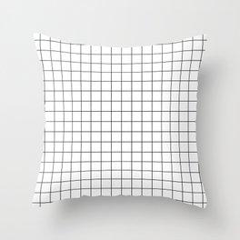 Grid White Throw Pillow