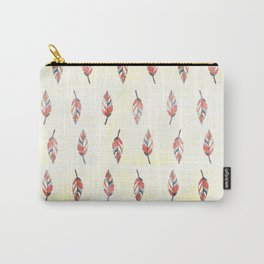 Modern coral yellow watercolor boho leaves Carry-All Pouch