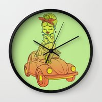 pin up Wall Clocks featuring Pin-up  by SilviaBoh