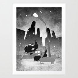City night crawlers b/w Art Print