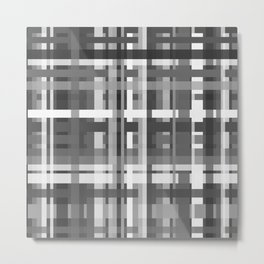 Plaid in Black White and Gray Metal Print