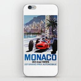 Grand Prix Monaco, 1965, vintage poster, race poster iPhone Skin